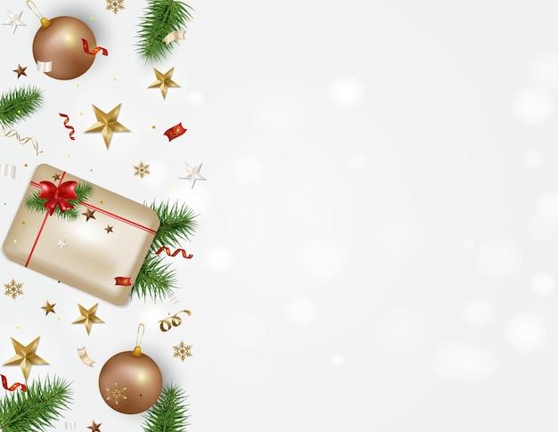 Feiertage hintergrund mit platz für text grußkarte der frohen weihnachten und des guten rutsch ins neue jahr 2020. geschenkbox, weihnachtskugeln, schneeflocken, serpentin, konfetti, sterne 3d. Premium Vektoren