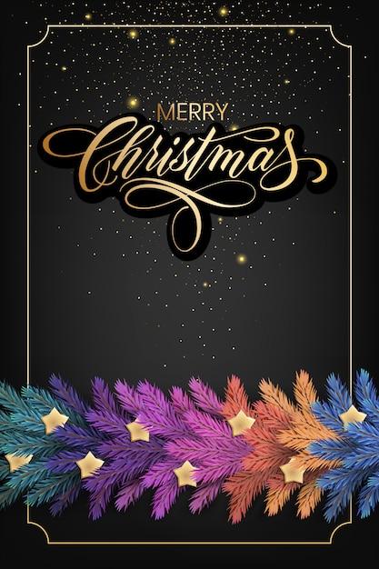 Feiertags für grußkarte der frohen weihnachten mit einer realistischen bunten girlande der kieferniederlassungen, verziert mit weihnachtslichtern, goldsterne, schneeflocken Premium Vektoren