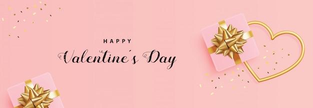 Feiertags-valentinstag, geschenkbox, goldherzrahmen und konfettis, realistisches 3d Premium Vektoren