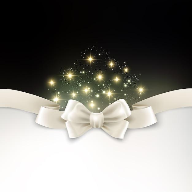 Feiertagslicht weihnachtshintergrund mit weißem silk bogen Premium Vektoren