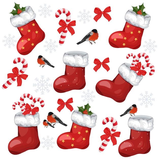 Feiertagsmuster mit weihnachtssocken und -süßigkeiten Premium Vektoren