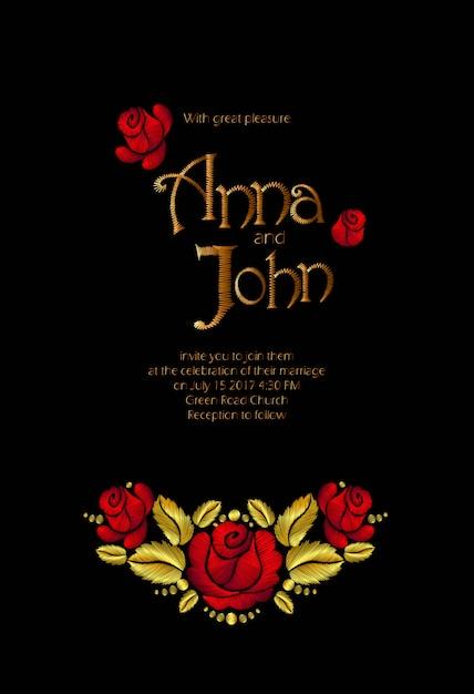 Feldblumen, die einladung wedding sind. speichern sie das datumsgrußkarten-blumenmuster. weinlesestickerei-vektorschablonengoldrotkunst der wildhundrose rustikale traditionelle Premium Vektoren