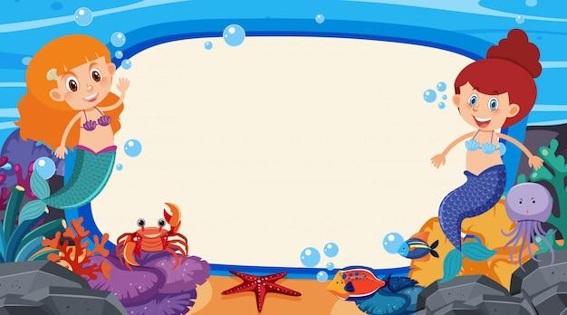 Felddesignschablone mit meerjungfrau und fischen Premium Vektoren