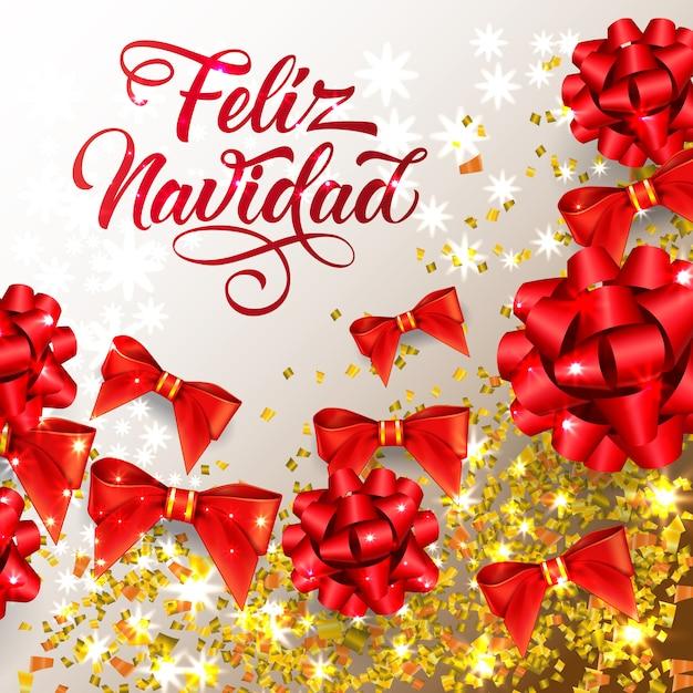 Feliz navidad-schriftzug mit glänzenden konfetti- und bandbögen Kostenlosen Vektoren