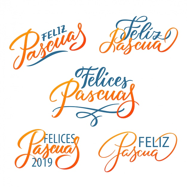 Feliz pascua typografiesatz. ostern auf spanisch. moderne kalligraphie druckt vektorbeschriftung, gestaltungselemente. Premium Vektoren