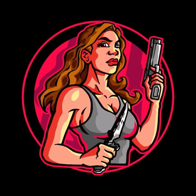 Female assassin secret agent Premium Vektoren