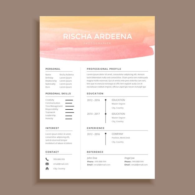 Feminine Aquarell Lebenslauf Vorlage Design | Download der Premium ...