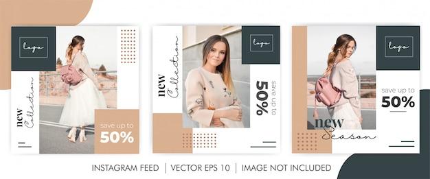 Feminine bundle new collection social-media-banner-vorlage Premium Vektoren