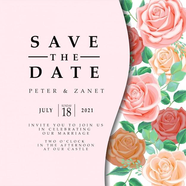 Feminine floral weeding event invitation editable template Premium Vektoren