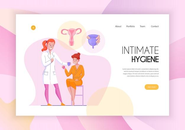 Feminine intime hygiene konzept webseite flache horizontale banner mit medizinischen assistenten produkte anwendungsberatung vektor-illustration Kostenlosen Vektoren