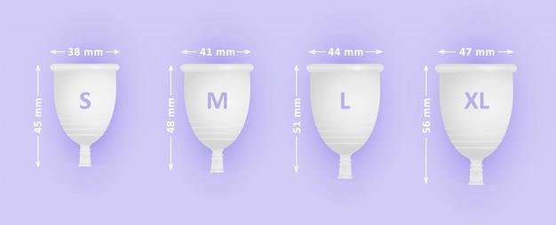 Feminine menstruationstasse gesetzt. verschiedene tassengrößen s, m, l, xl. menstruationspflege für frauen. Premium Vektoren
