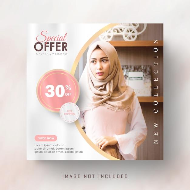 Feminine pink gold instagram post oder quadratische banner vorlage Premium Vektoren