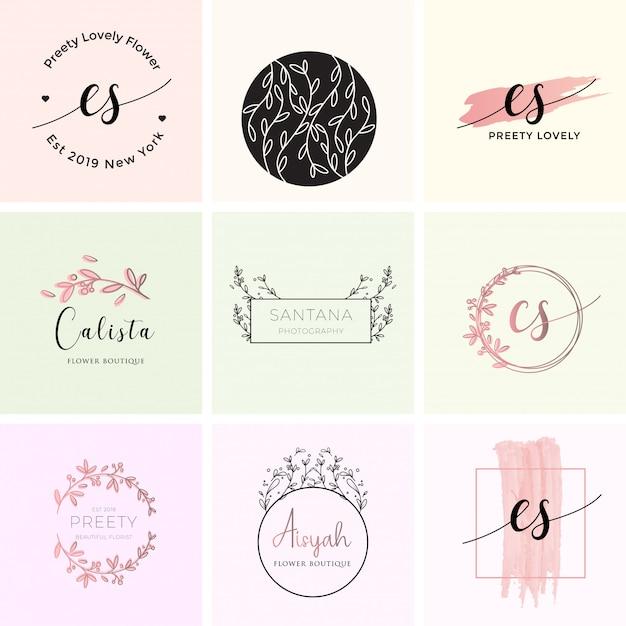 Feminine premade-logo-branding-vorlage Premium Vektoren