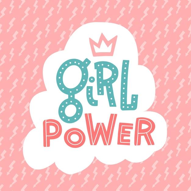Feminismusslogan mit der hand gezeichnet, mädchenenergie und lustiges girly kronen- und blitzmuster beschriftend Premium Vektoren