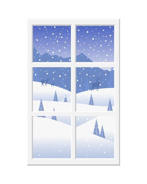 Fenster mit dem weißen rahmen, der die schöne winterlandschaft und -rotwild übersieht. Premium Vektoren