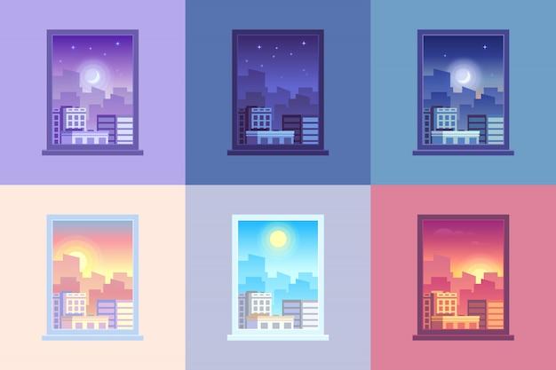 Fenster tageszeitansicht. Premium Vektoren