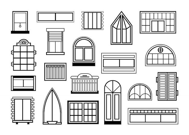 Fenster und glastüren gesetzt Kostenlosen Vektoren