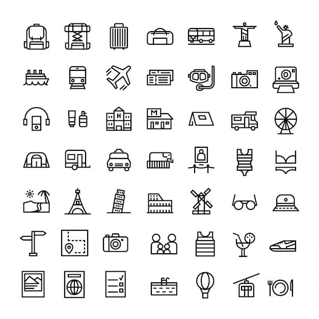Ferien- oder feiertags-ikone eingestellt in linie art-vektor Premium Vektoren