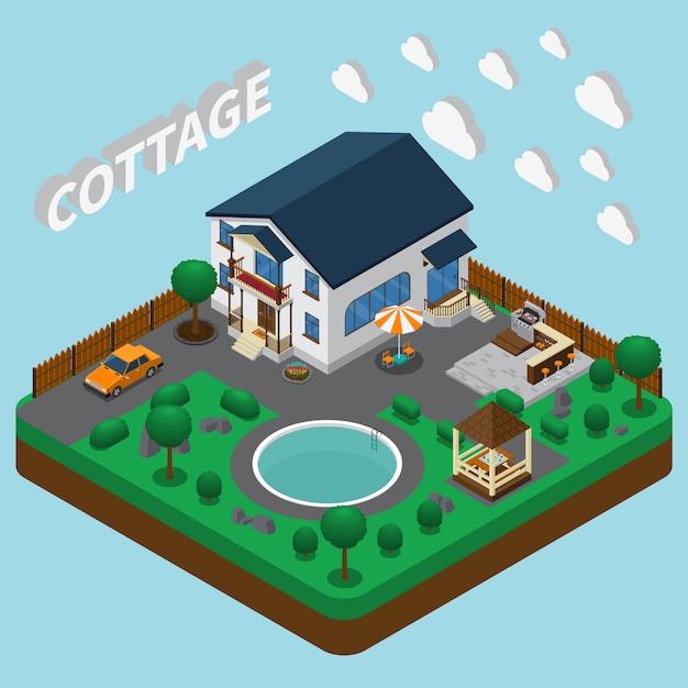 Ferienhaus isometrisch Kostenlosen Vektoren