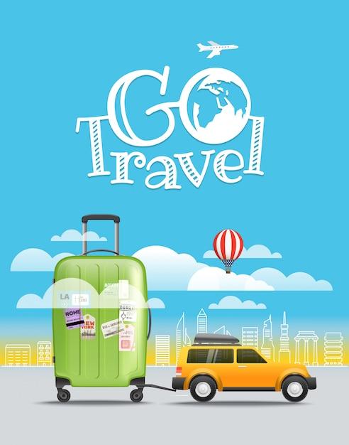 Ferienreisendes konzept. auto mit gepäck. gehen sie reiseillustration Premium Vektoren