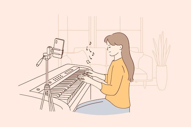 Fern entferntes musikunterrichtskonzept Premium Vektoren