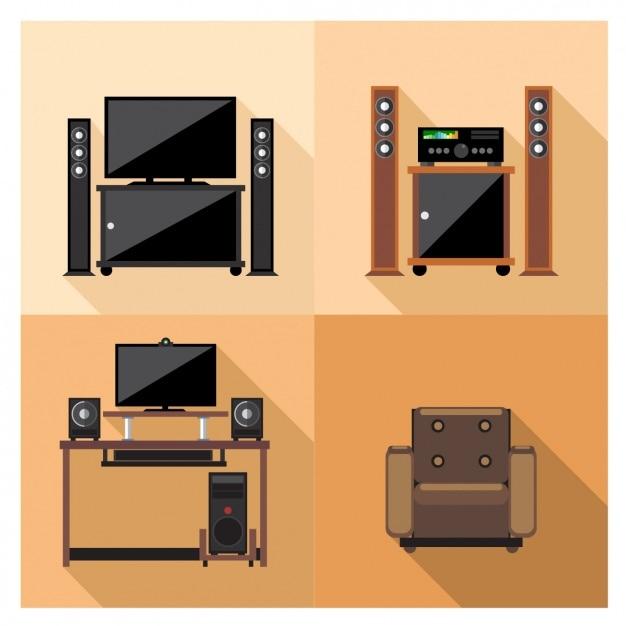 Fernseh- und videogeräte Kostenlosen Vektoren