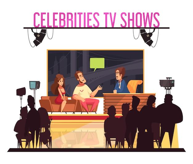 Fernsehberühmtheits-quizshow mit dem berühmten paar des gastgebers, das antworten gibt, kameramannpublikum silhouettiert karikatur Kostenlosen Vektoren