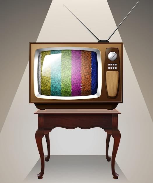 Fernsehen auf dem tisch Kostenlosen Vektoren