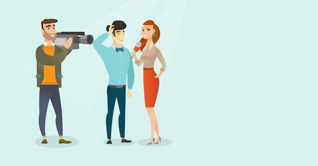 Fernsehinterview-vektorkarikaturillustration. Premium Vektoren