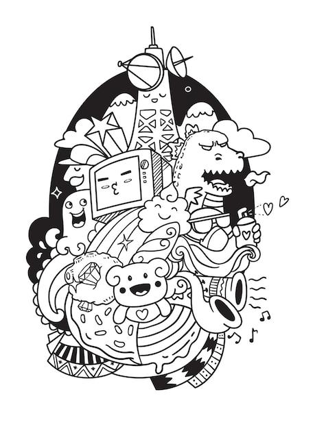 Fernsehkritzelei illustration Premium Vektoren