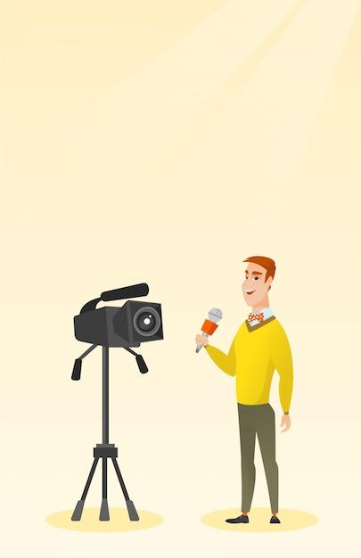 Fernsehreporter mit mikrofon und kamera. Premium Vektoren