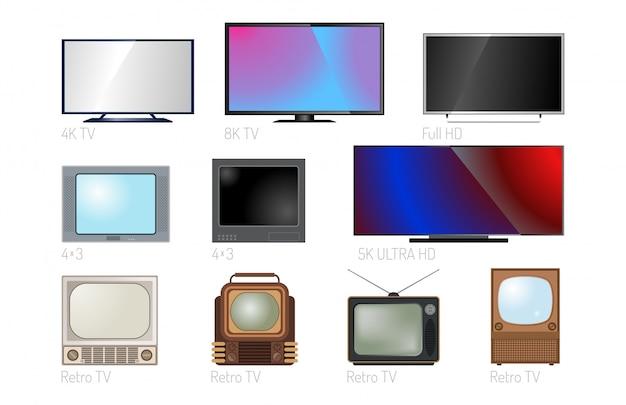 Fernsehschirm lcd-monitor-technologie des elektronischen geräts digitale größen-diagonalanzeige und moderner plasmaausgangsvideocomputersatz Premium Vektoren