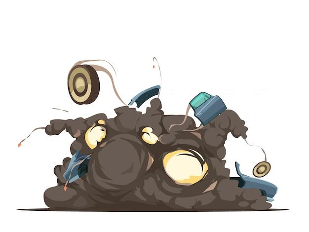 Fernsteuerungsautobom-explosions-detonationsmoment mit fliegenden rückstand am explosionsstandort retro Kostenlosen Vektoren