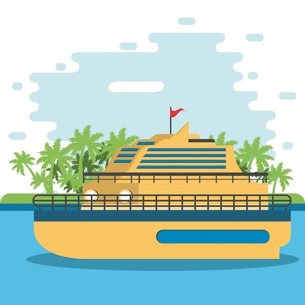 Ferris river kreuzfahrtschiff reisen Premium Vektoren