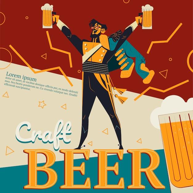 Fertigen sie bierillustration des retro- anzeigenplakats für bar oder kneipe mit revolutionärem conce an Kostenlosen Vektoren