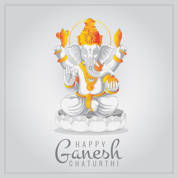 Fest der ganesh chaturthi grußkarte mit statue von lord ganesha Premium Vektoren