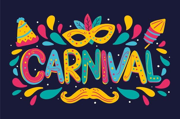 Fest gezeichnete karnevalsbeschriftung mit schnurrbart- und brillenzubehör Kostenlosen Vektoren