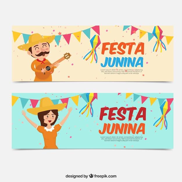 Festa junina banner mit schönen charakteren Kostenlosen Vektoren