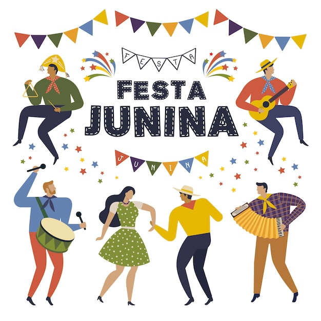 Festa junina brasilien juni festival. folklore urlaub zeichen. Premium Vektoren