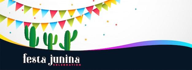 Festa junina event banner mit kaktuspflanze Kostenlosen Vektoren