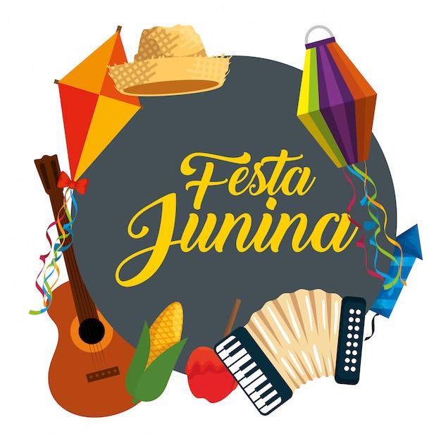Festa junina feier mit traditioneller dekoration Premium Vektoren