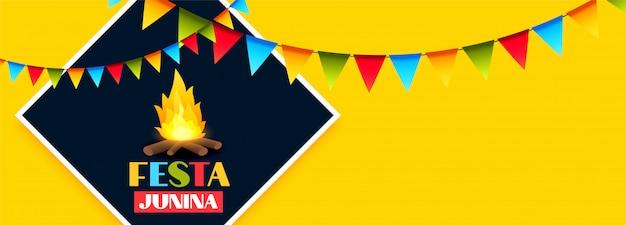 Festa junina feier urlaub banner mit girlande dekoration Kostenlosen Vektoren