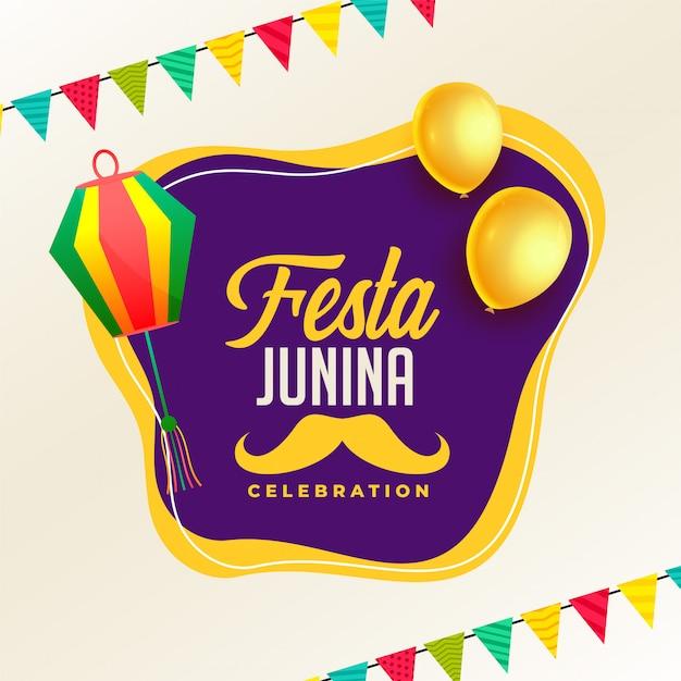 Festa junina feierplakat mit lampen und ballon Kostenlosen Vektoren