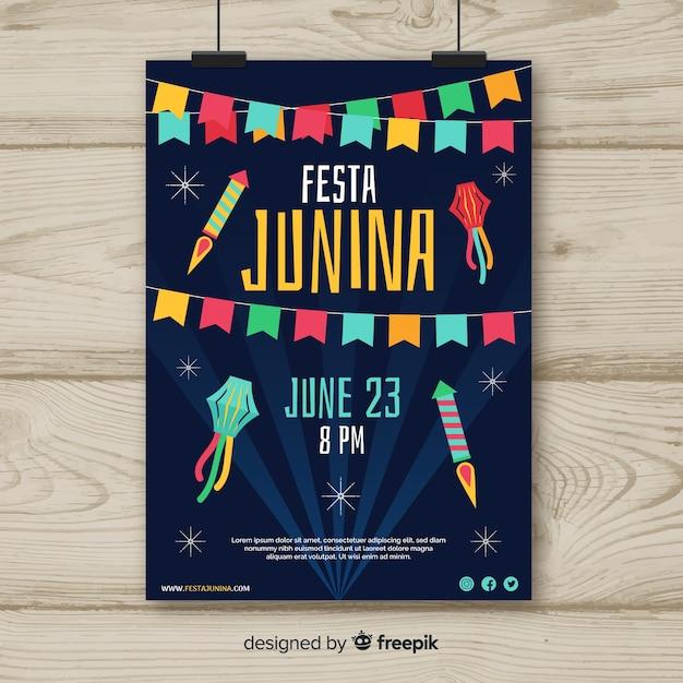 Festa junina flyer vorlage Kostenlosen Vektoren
