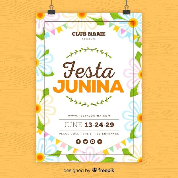 Festa junina flyer Kostenlosen Vektoren