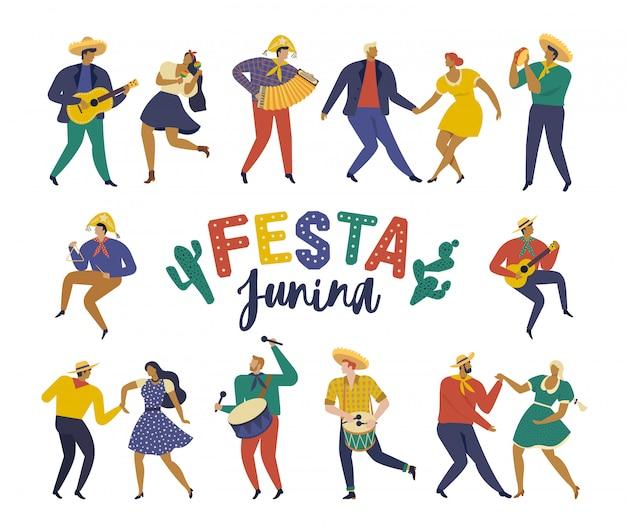Festa junina für feiertags-juni-party von brasilien Premium Vektoren