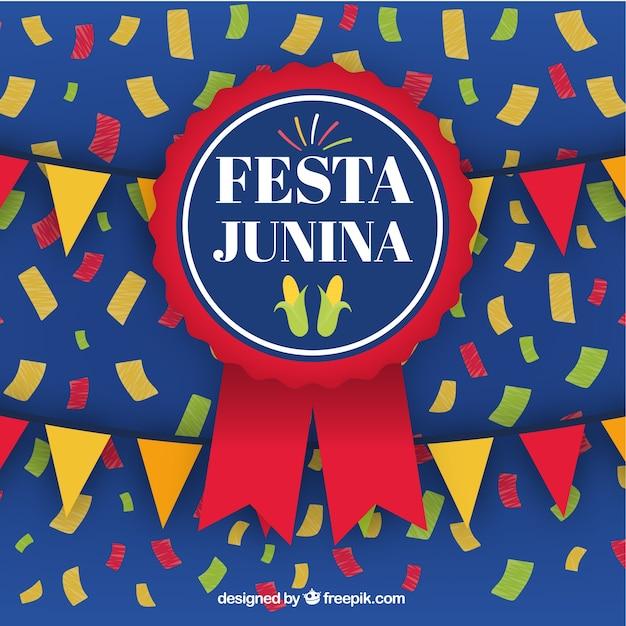 Festa junina hintergrund mit abzeichen Kostenlosen Vektoren