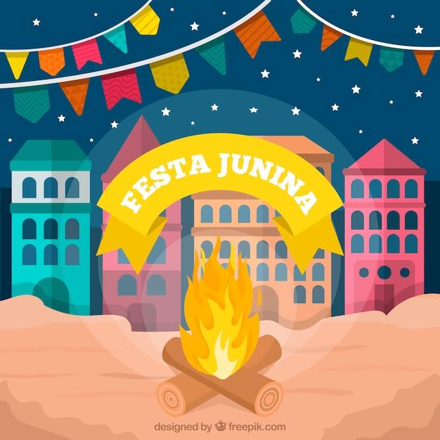 Festa junina hintergrund mit feuer Kostenlosen Vektoren