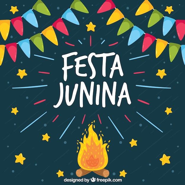 Festa junina hintergrund mit lagerfeuer und sternen Kostenlosen Vektoren