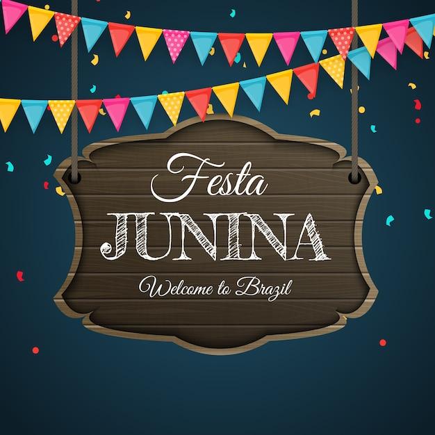 Festa junina hintergrund mit partyflaggen. brasilien juni festival hintergrund für grußkarte, einladung im urlaub. Premium Vektoren